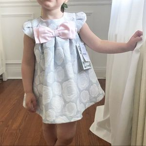 Grey and Pink rose dress with large bow